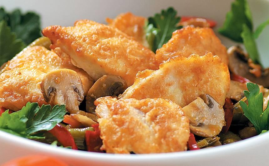 Vistu filejas ingvera mīklā ar dārzeņiem recepte