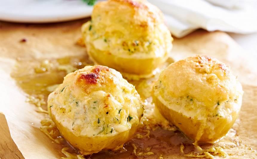 Pildīti kartupeļi ar pikšu un sieru recepte