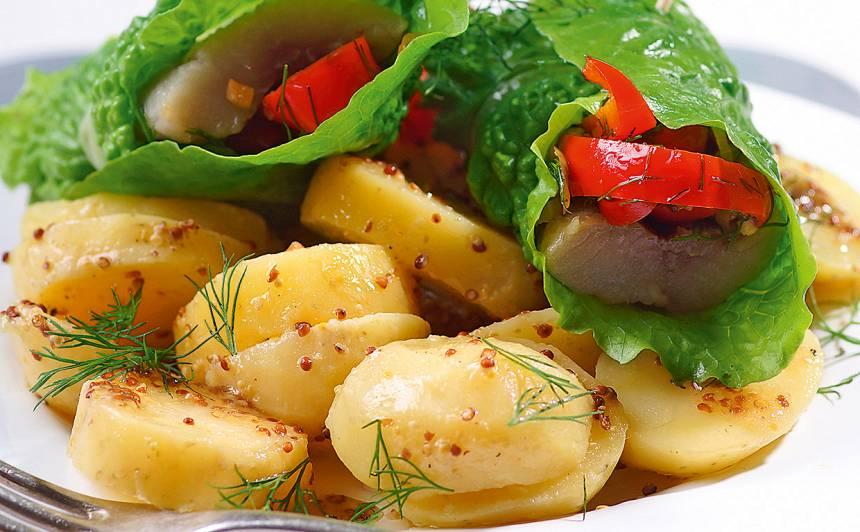 Kartupeļu salāti ar siļķes, dārzeņu tītenīšiem recepte