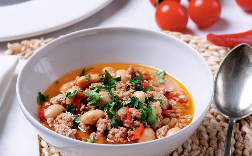 Maltās gaļas un pupiņu zupa recepte