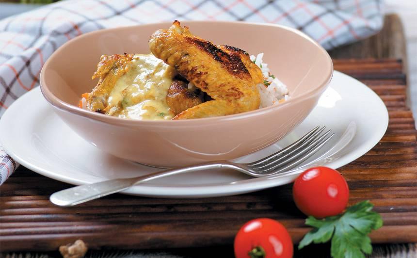 Vistas spārniņi ar rīsiem un ķirbi recepte