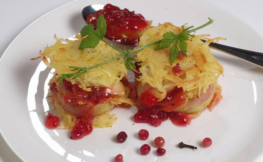 Kartupeļu skaidiņu pankūku tornīši recepte