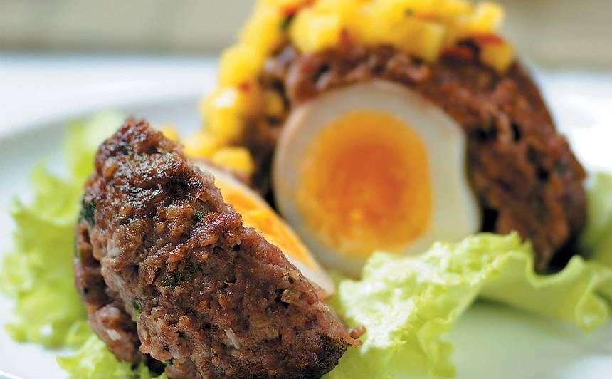 Skotu ola ar mango mērci recepte