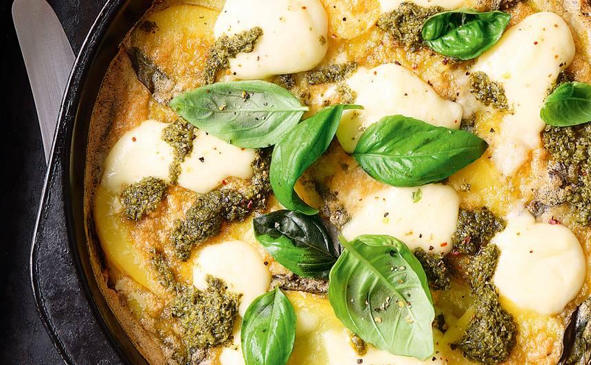 Kartupeļu fritata ar mocarellu