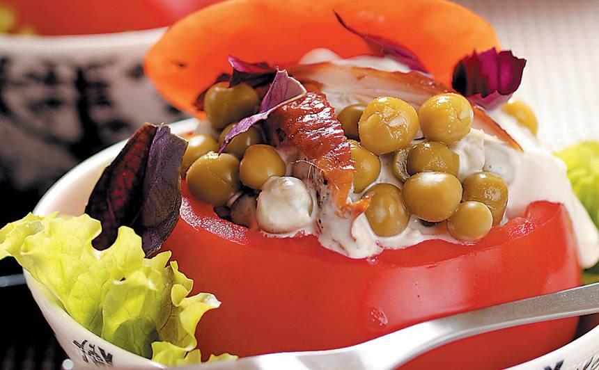 Svaigi, pildīti tomāti ar zirnīšiem recepte