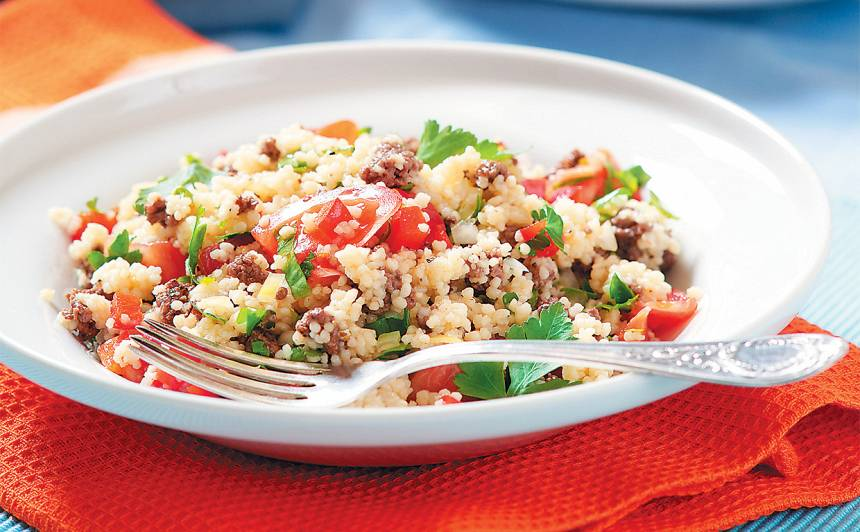 Kuskusa salāti ar gaļu un dārzeņiem recepte