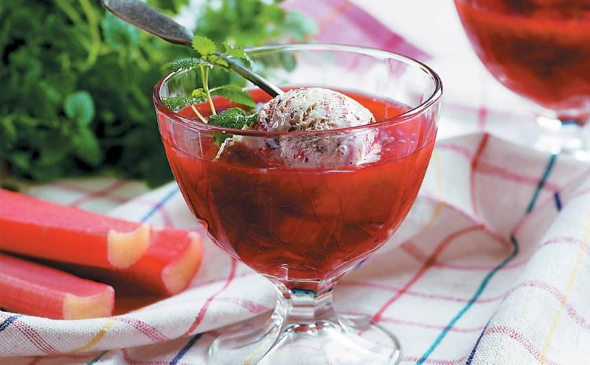 Rabarberu ķīselis ar saldējumu recepte