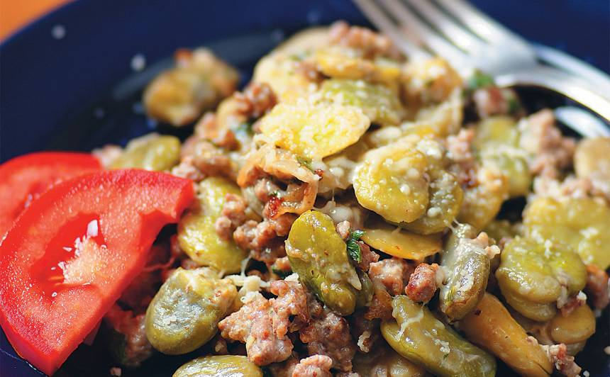 Maltā gaļa cūku pupās recepte