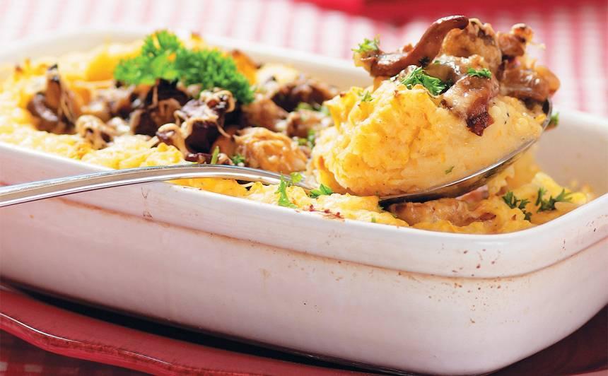 Kartupeļu biezeņa un sēņu sacepums recepte