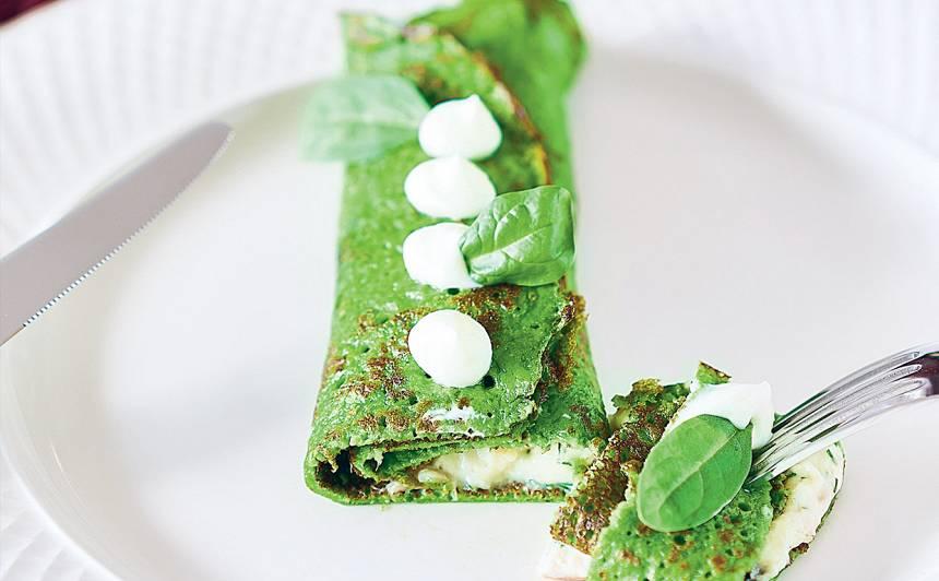 Spinātu pankūkas ar kūpinātu jūras asari recepte