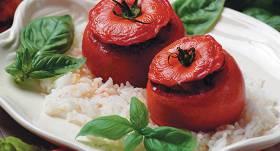 Cepti pildīti tomāti ar gaļu recepte