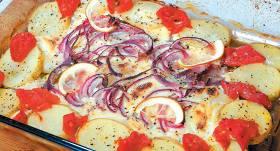 Pangasijas un kartupeļu sacepums recepte