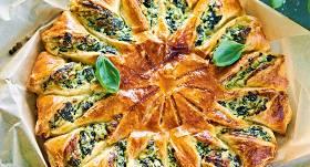 Saules pīrāgs ar spinātiem recepte