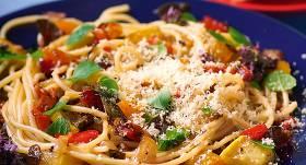 Spageti ar ceptiem dārzeņiem recepte
