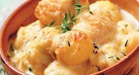 Kartupeļi un ziedkāposti siera mērcē recepte