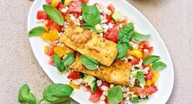 Grūbu salāti ar ceptu sieru un dārzeņiem receptes
