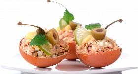 Ar mencu aknām pildītas olas recepte
