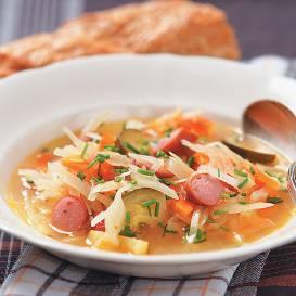 Dārzeņu zupa ar cīsiņu recepte