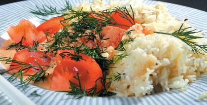 Habdži - rīsi ar dārzeņu, biezpiena mērci recepte