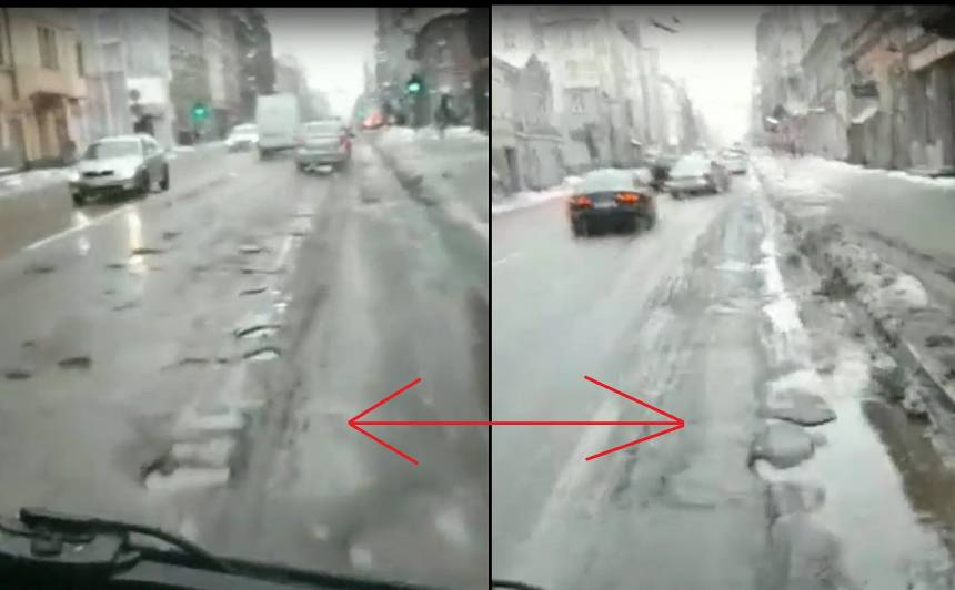 VIDEO: Rīgas galvenās <strong>ielas brūk kopā</strong> - bedres lauž mašīnas!<br />