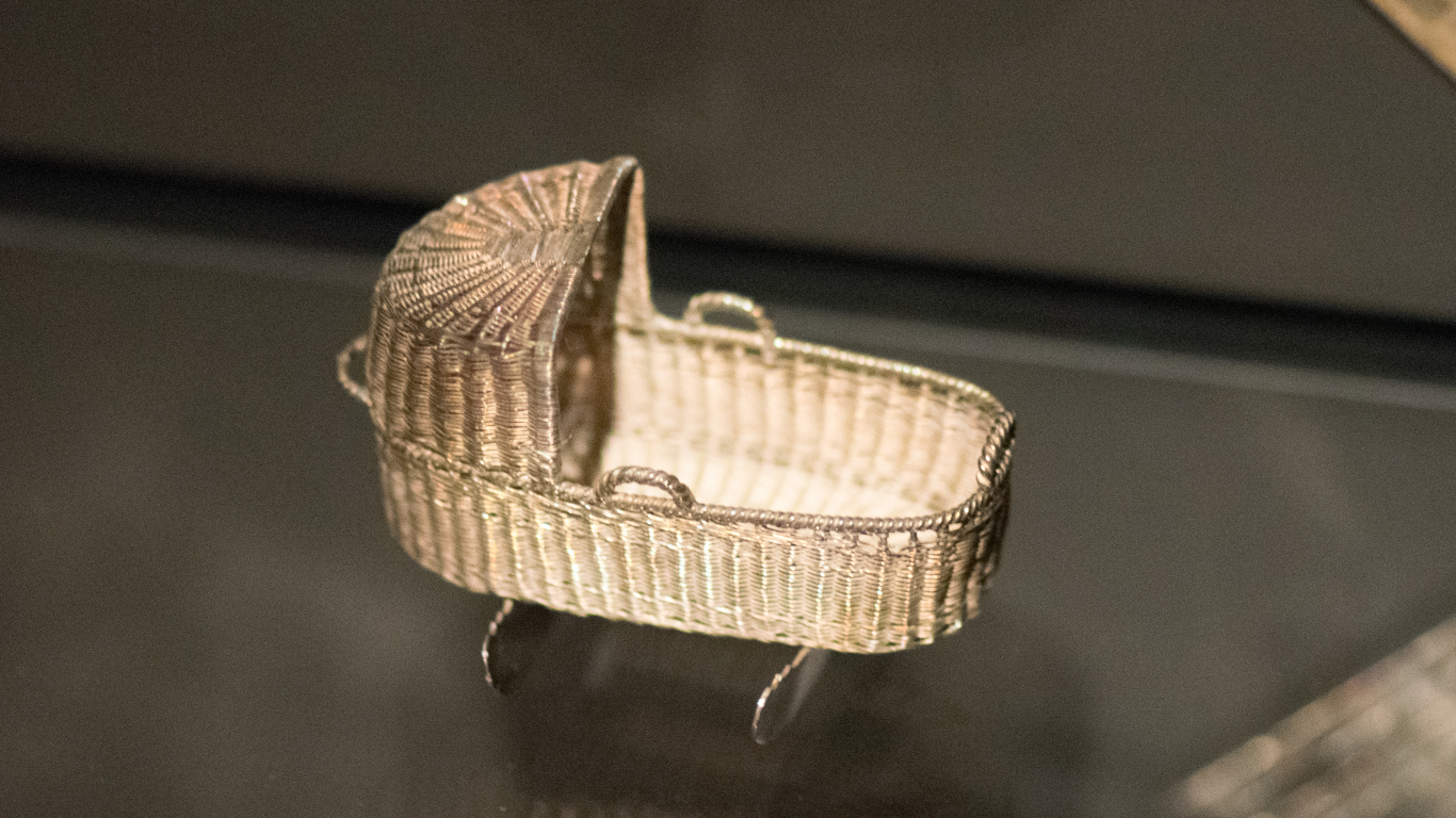 Tiny silver crib basket