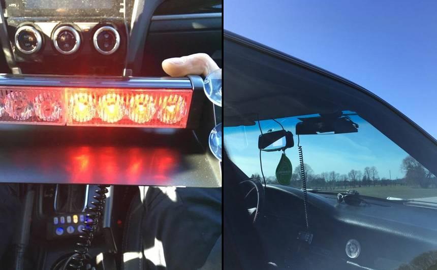 Gribēja <strong>tēlot policiju:</strong> likumsargi pieķer Audi, kuram uzstādītas bākugunis