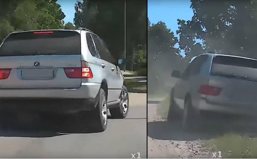 VIDEO: Alūksnē dzēris <strong><em>BMW X5</em></strong> vadītājs bēg no policijas