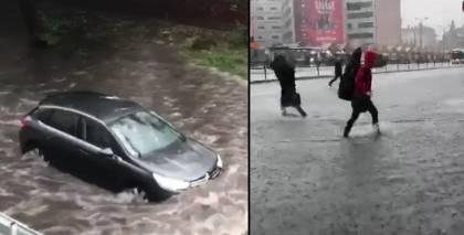 VIDEO: Spēcīgā lietus dēļ <strong>Rīgā slīkst mašīnas un gājēji</strong>