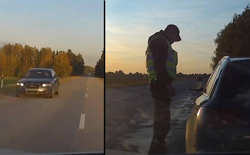 VIDEO: Policija Vidzemē noķer <strong><em>Audi A6</em>, kas <em>lido</em> uz 183 km/h</strong>