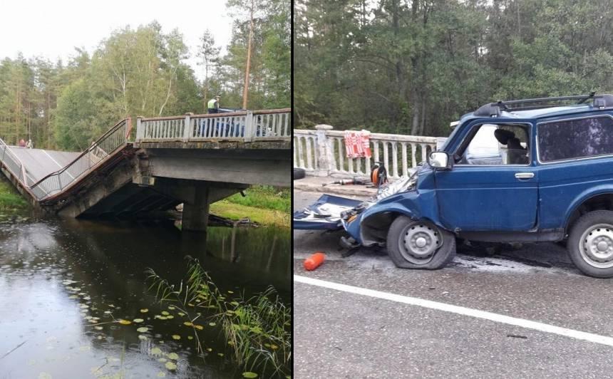 <strong>Krievijā sabrūk tilts, kas ved uz Latviju</strong> — smagi cietis autovadītājs