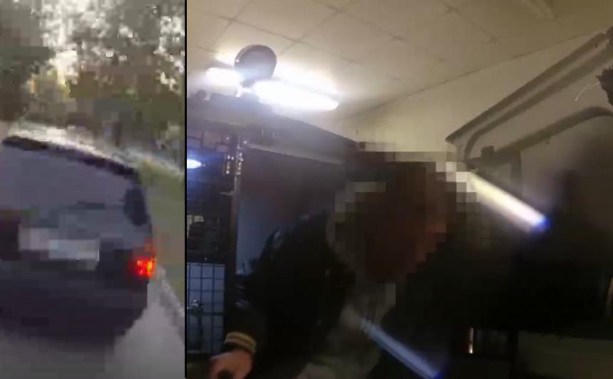 VIDEO: Vīrieti aiztur reibumā pie stūres, <strong>viņš vēlas <em>nokārtoties</em> policijas auto</strong>