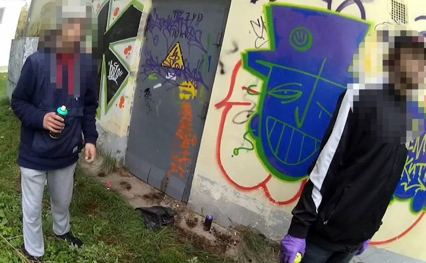 <strong>Likumsargi pieķer divus grafiti zīmētājus</strong> bojājam privātīpašumu