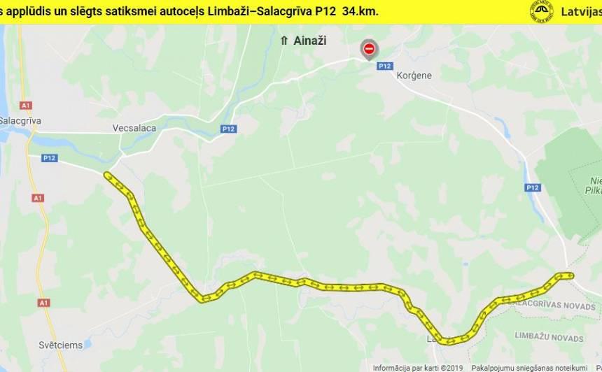 <strong>Applūdis autoceļš Limbaži – Salacgrīva posmā pie Korģenes</strong>, satiksme slēgta