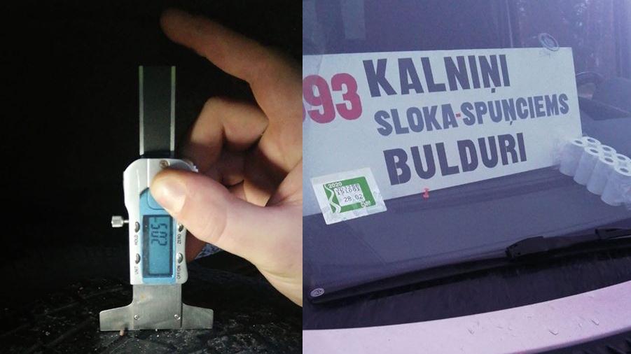 Pliko riepu sērga: <strong>Spuņciemā deviņiem auto atņem tehnisko apskati</strong> — viens no tiem pasažieru mikroautobuss