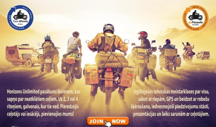 Latvijā notiks <strong>vispasaules motoceļotāju foruma <em>Horizons Unlimited</em></strong> pasākums