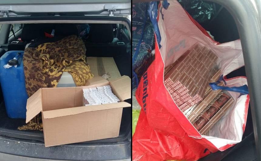Policija no automašīnas <strong>konfiscē 1376 nelegālo cigarešu iepakojumus</strong>
