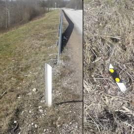FOTO: Ļaundari uz autoceļa pie Talsiem <strong>nolauzuši vairāk nekā 90 signālstabiņus</strong>