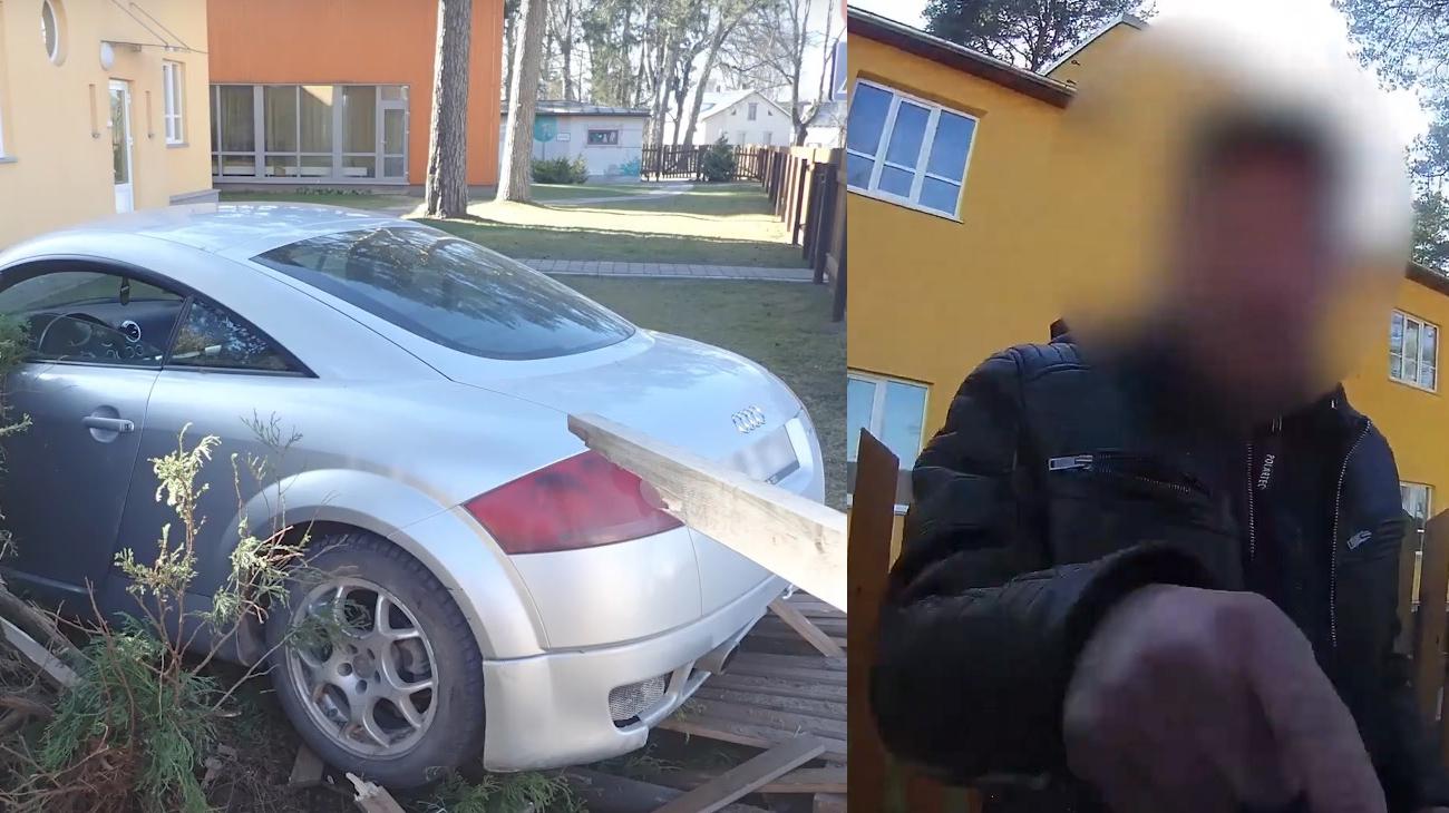 VIDEO: Apē autovadītājs <strong>3 promiļu reibumā</strong> iebrauc bērnudārza sētā un pretojas policijai