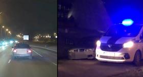 VIDEO: Pārgalvīgs autovadītājs Rīgas ielās <strong>bēg no policijas un <em>finišē</em> ar nolauztu riteni</strong>
