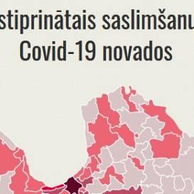 Jaunākā saslimstības karte — <strong><em>Covid-19</em> konstatēts jau kopumā 52 pašvaldībās</strong>