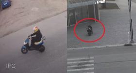VIDEO: <strong>Jaunietis <em>parauj ratā</em> motorolleri un nokrīt,</strong> braucamais ieripo veikala logā