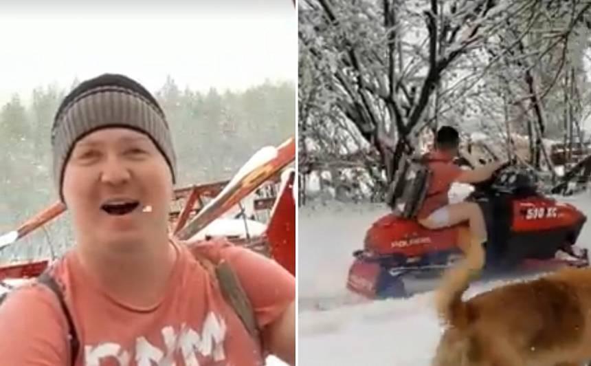 VIDEO: Vīrietis T-kreklā <strong>ar sniega motociklu Balvos brauc meklēt Sniegbaltīti</strong>