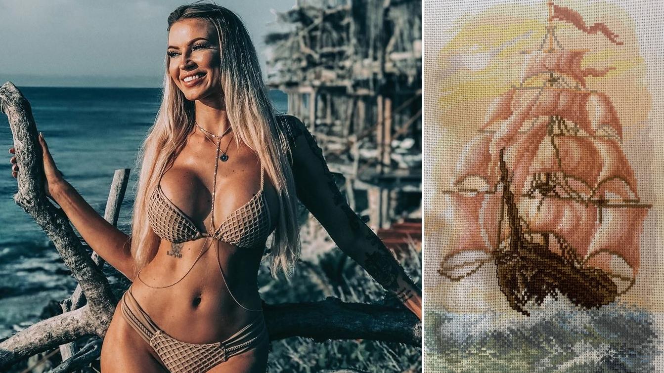 Modes lieta — fitnesa princese <strong>Juta Valdmane krustdūrienā izšuj kuģa gleznu</strong>