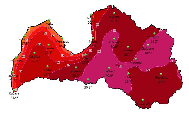 Prognozētā maksimālā gaisa temperatūra 20.06.2020. LVĢMC