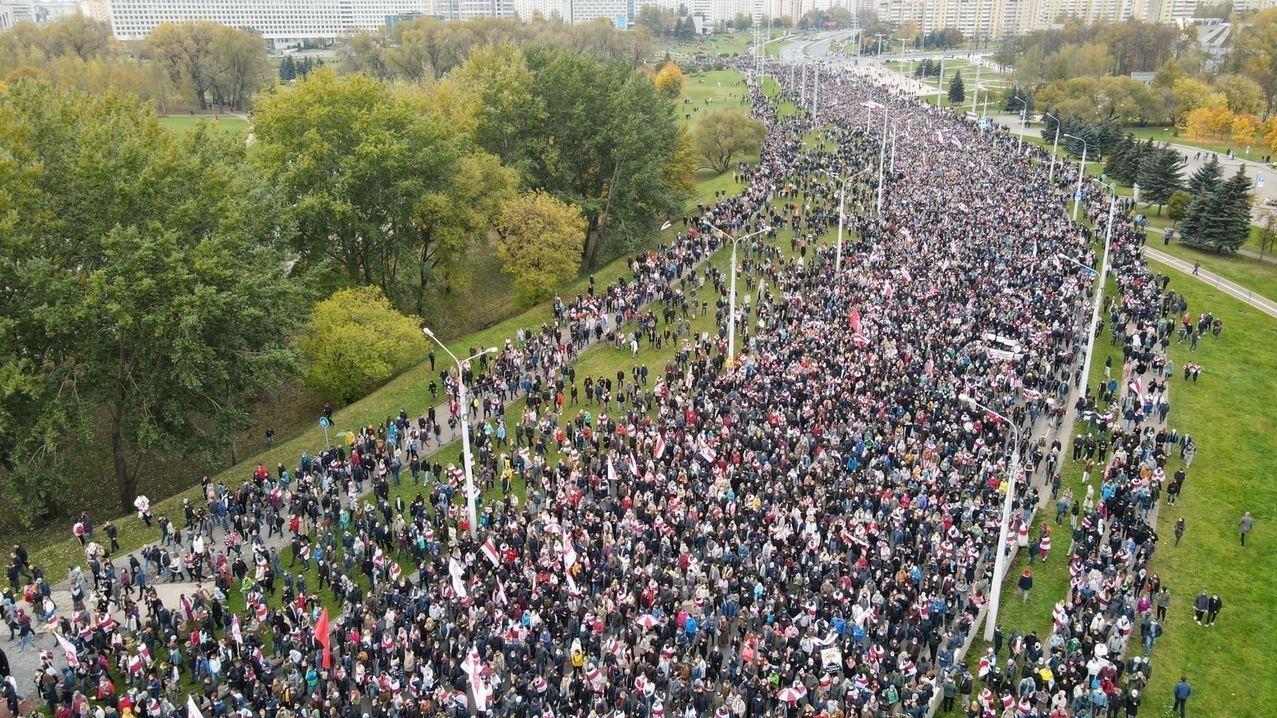 Protesta gājiens Minskā.