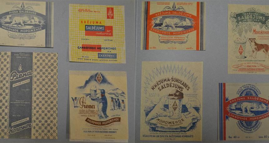Rīgas piena kombināta saldējmu etiķetes 60. gados.